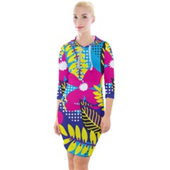 Pattern Leaf Polka Rainbow Quarter Sleeve Hood Bodycon Dress by HermanTelo