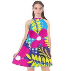 Pattern Leaf Polka Rainbow Halter Neckline Chiffon Dress