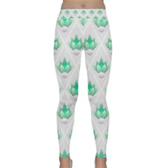 Plant Pattern Green Leaf Flora Classic Yoga Leggings by HermanTelo