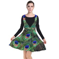 Peacock Feathers Plumage Iridescent Plunge Pinafore Dress by HermanTelo