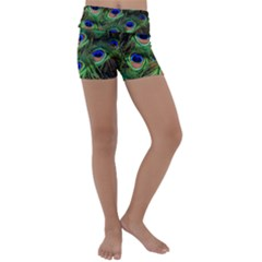 Peacock Feathers Plumage Iridescent Kids  Lightweight Velour Yoga Shorts by HermanTelo