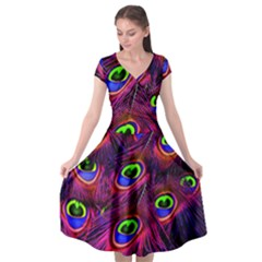 Peacock Feathers Color Plumage Cap Sleeve Wrap Front Dress by HermanTelo
