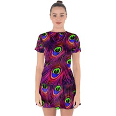 Peacock Feathers Color Plumage Drop Hem Mini Chiffon Dress by HermanTelo