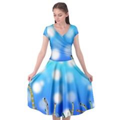 Sea Underwater Life Fish Cap Sleeve Wrap Front Dress by HermanTelo