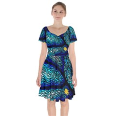 Sea Coral Stained Glass Short Sleeve Bardot Dress