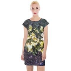 April Pansies Cap Sleeve Bodycon Dress