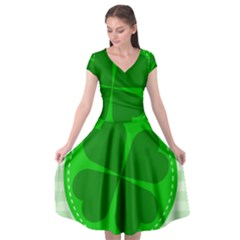 Shamrock Luck Day Cap Sleeve Wrap Front Dress by HermanTelo