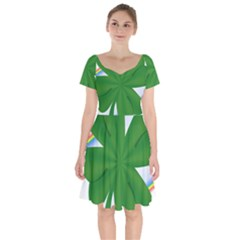 Shamrock Clover Saint Patrick Leaves Short Sleeve Bardot Dress
