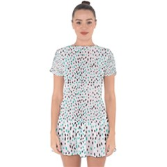 Seamless Texture Fill Polka Dots Drop Hem Mini Chiffon Dress by HermanTelo
