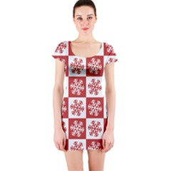 Snowflake Red White Short Sleeve Bodycon Dress