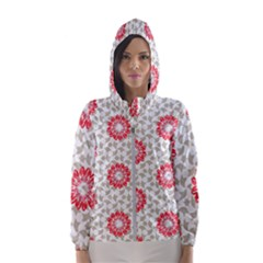 Stamping Pattern Red Women s Hooded Windbreaker by HermanTelo
