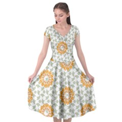 Stamping Pattern Yellow Cap Sleeve Wrap Front Dress