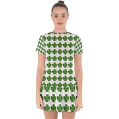 Shamrocks Clover Green Leaf Drop Hem Mini Chiffon Dress