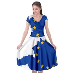 European Union Flag Map Of Austria Cap Sleeve Wrap Front Dress by abbeyz71