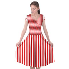 Diamond Red Red White Stripe Skinny Cap Sleeve Wrap Front Dress by thomaslake