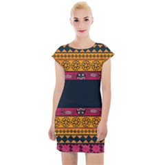 Diamond Red Black Pink Orange African Print Cap Sleeve Bodycon Dress by thomaslake