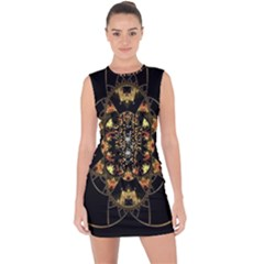 Fractal Stained Glass Ornate Lace Up Front Bodycon Dress by Sapixe