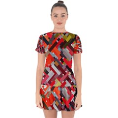 Maze Mazes Fabric Fabrics Color Drop Hem Mini Chiffon Dress by Sapixe