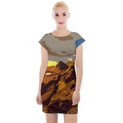 Scotland Monti Mountains Mountain Cap Sleeve Bodycon Dress by Sapixe