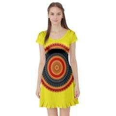 Art Decoration Wallpaper Bright Short Sleeve Skater Dress