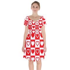 Background Card Checker Chequered Short Sleeve Bardot Dress by Sapixe