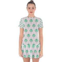 Plant Pattern Green Leaf Flora Drop Hem Mini Chiffon Dress by Sapixe