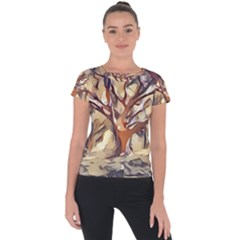 Tree Forest Woods Nature Landscape Short Sleeve Sports Top  by Sapixe
