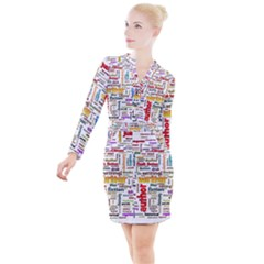 Writing Author Motivation Words Button Long Sleeve Dress