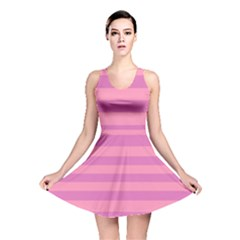 Pink Stripes Striped Design Pattern Reversible Skater Dress by Sapixe