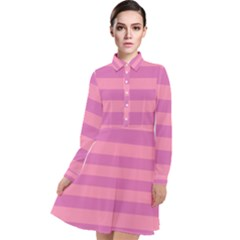Pink Stripes Striped Design Pattern Long Sleeve Chiffon Shirt Dress by Sapixe
