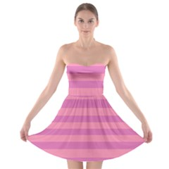 Pink Stripes Striped Design Pattern Strapless Bra Top Dress by Sapixe