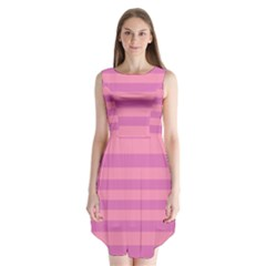 Pink Stripes Striped Design Pattern Sleeveless Chiffon Dress   by Sapixe