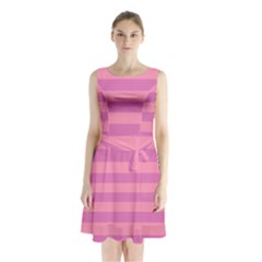 Pink Stripes Striped Design Pattern Sleeveless Waist Tie Chiffon Dress by Sapixe