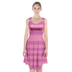 Pink Stripes Striped Design Pattern Racerback Midi Dress by Sapixe