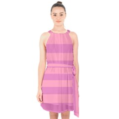 Pink Stripes Striped Design Pattern Halter Collar Waist Tie Chiffon Dress by Sapixe