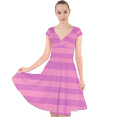 Pink Stripes Striped Design Pattern Cap Sleeve Front Wrap Midi Dress by Sapixe