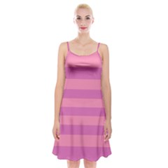 Pink Stripes Striped Design Pattern Spaghetti Strap Velvet Dress by Sapixe