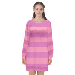Pink Stripes Striped Design Pattern Long Sleeve Chiffon Shift Dress  by Sapixe