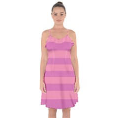 Pink Stripes Striped Design Pattern Ruffle Detail Chiffon Dress by Sapixe