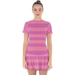 Pink Stripes Striped Design Pattern Drop Hem Mini Chiffon Dress by Sapixe