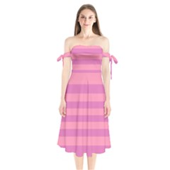 Pink Stripes Striped Design Pattern Shoulder Tie Bardot Midi Dress by Sapixe
