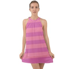 Pink Stripes Striped Design Pattern Halter Tie Back Chiffon Dress by Sapixe