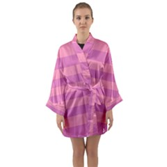 Pink Stripes Striped Design Pattern Long Sleeve Kimono Robe by Sapixe