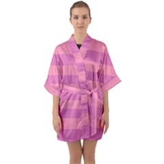 Pink Stripes Striped Design Pattern Quarter Sleeve Kimono Robe by Sapixe