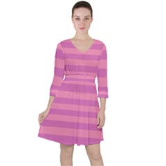 Pink Stripes Striped Design Pattern Ruffle Dress by Sapixe