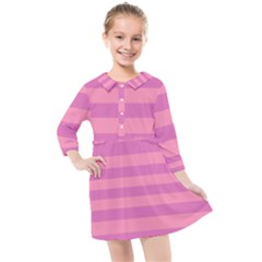 Pink Stripes Striped Design Pattern Kids  Quarter Sleeve Shirt Dress by Sapixe