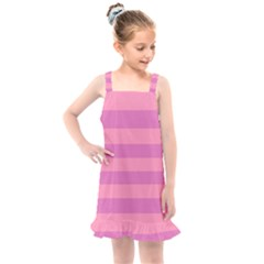 Pink Stripes Striped Design Pattern Kids  Overall Dress by Sapixe