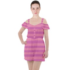 Pink Stripes Striped Design Pattern Ruffle Cut Out Chiffon Playsuit by Sapixe