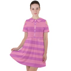 Pink Stripes Striped Design Pattern Short Sleeve Shoulder Cut Out Dress  by Sapixe