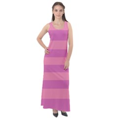 Pink Stripes Striped Design Pattern Sleeveless Velour Maxi Dress by Sapixe